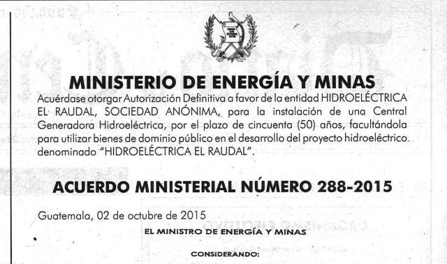 ACUERDO MINISTERIAL 288-2015 AUTORIZA CENTRAL HIDROELÉCTRICA DE 12 MW