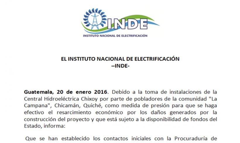 EL INSTITUTO NACIONAL DE ELECTRIFICACIÓN  -INDE- comunica: