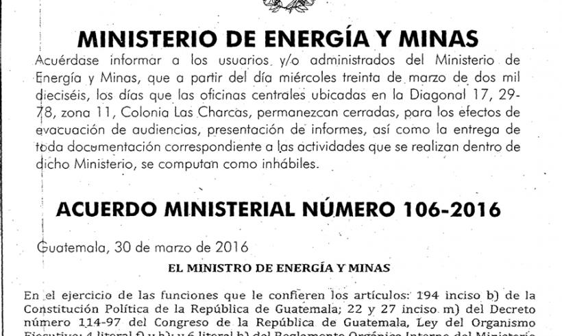ACUERDO MINISTERIAL 106-2016