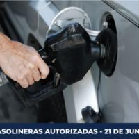 GASOLINERAS AUTORIZADAS PARA EL 21 DE JUNIO DE 2020